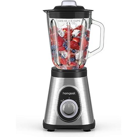 Amazon De 1200 Watt Edelstahl Standmixer Mit Mix Behalter Aus Glas 1 5 Liter Bpa Free Smoothie Maker Ice Crusher Milchshaker