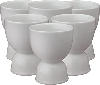 HIC Harold Import Co. 400220/6 HIC Double Egg Cups, Fine Porcelain, White, Set of 6