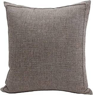 Bursonvic Throw Pillow Case Cushion Cover, Linen Burlap Home Farmhouse/Modern Decorative Square Solid Pillow Cover for Sofa/Couch/Bed (18 x 18 Inches, Beige/Light Coffee)