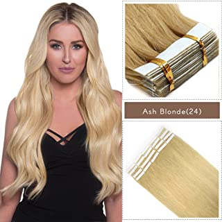 PARAHAIR 16 Inch Tape in Hair Extensions Remy Human Hair Glue in Extensions Seamless Skin Wefts Ash Blonde (#24) 40pcs With Free Tape