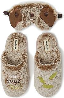 Dearfoams - Pantofole da Donna con Maschera per Gli Occhi, Suola Interna e Esterna