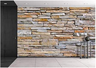 wall26 - Modern Pattern of Stone Wall Decorative Surfaces - Removable Wall Mural | Self-Adhesive Large Wallpaper - 100x144 inches