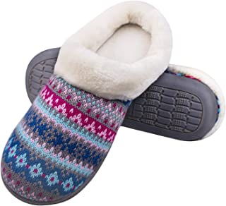 Hoswo Womens Slippers, Slippers for Women Memory Foam Knitted Slip on Anti-Skid Sole Comfy Faux Fur Collar Fluffy House Sh...