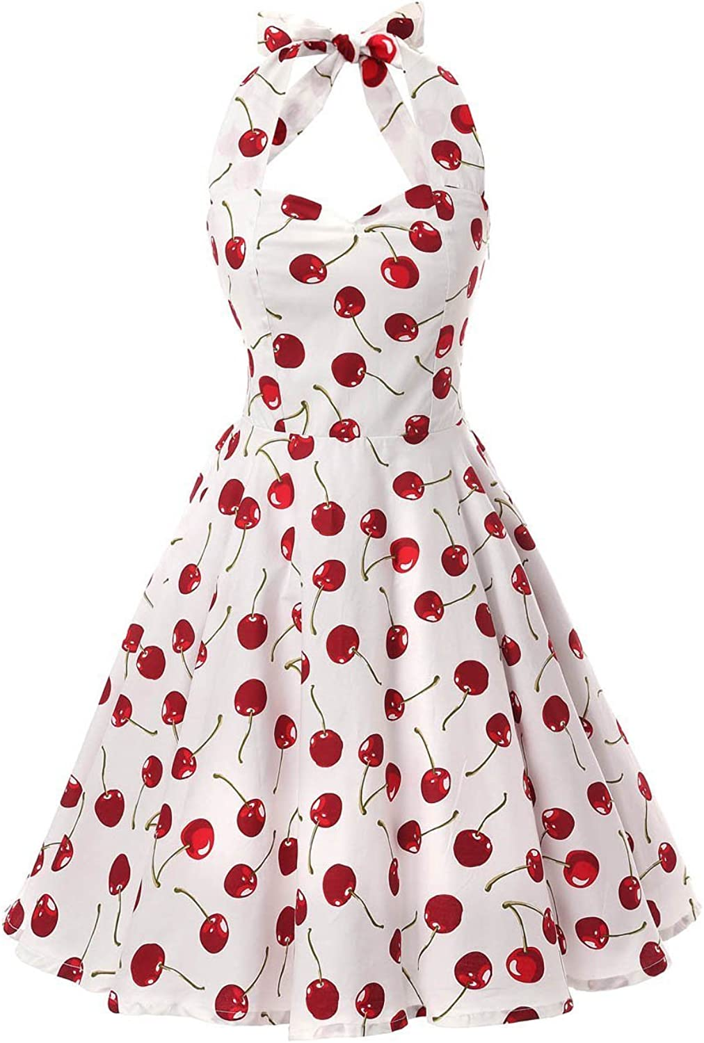 Ensnovo Womens Vintage 1950s Halter Floral Spring Garden Party Picnic Dress