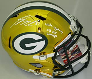 Packers Jordy Nelson Autographed Signed Riddell Full Size Chrome Helmet Auto W/Scripts JSA