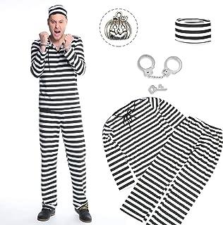 囚人服 ハロウィン コスチューム 囚人 仮装 コスプレ 手錠 セット メンズ 白黒 ボーダー 長袖 (L)
