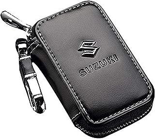 DALUCI Black Premium Leather Car Key Chain Coin Holder Zipper Case Remote Wallet Bag for (Suzuki)