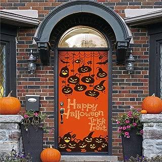 3D Static Cling Window Film Self adhesive Glass sticker,Pumpkin Halloween Door Sticker Decorations for Doors Adhesive Removable Art Wallpaper DIY Mural Decals Living Room Bedroom Decor 15x78.7 Inch