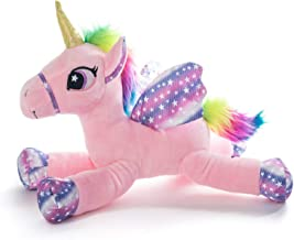 SUPER TOYS Magic Sparkle Unicorn Plush Toy Horse - Soft and Colorful - 14 in