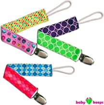 BabyKeeps Best Girls Universal Pacifier Holder with Metal Clip and Plastic Grip by Babykeeps, Fits Soothies and Teethers, Best Baby Shower Gift