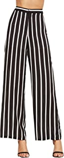 Women's Striped High Waisted Wide Leg Palazzo Pants Capris