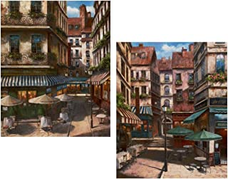 wallsthatspeak Rustic Cityscape Art, Kitchen and Bar Wall Decor, Italy Coffee Art (2 Pack)