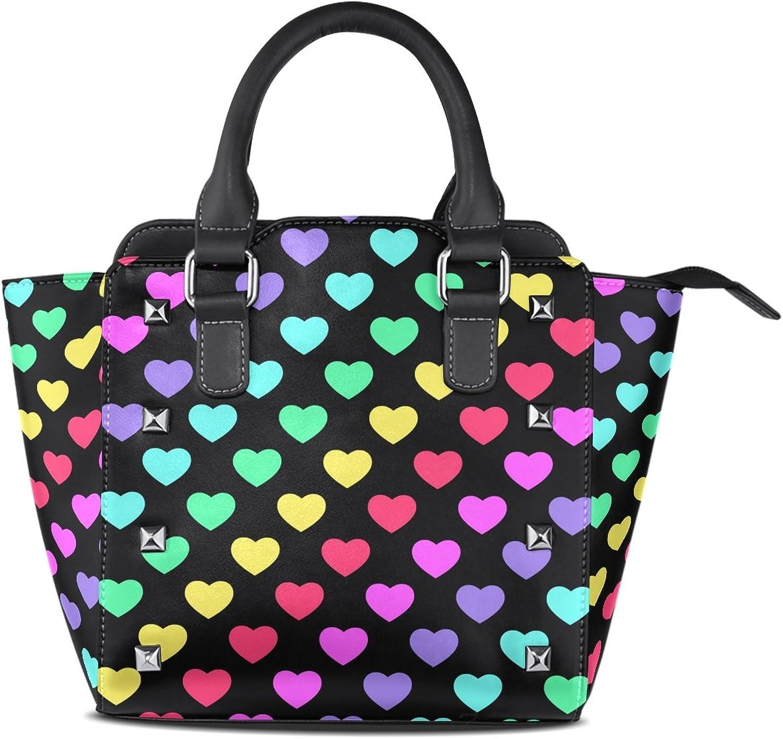 My Little Nest Women's Top Handle Satchel Handbag Rainbow Hearts Ladies PU Leather Shoulder Bag Crossbody Bag