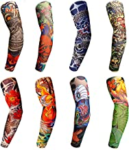 8PCS Tattoo Sleeves Cool Temporary Sunscreen Arm Sleeves for Men Women Cycling Running Driving Sports