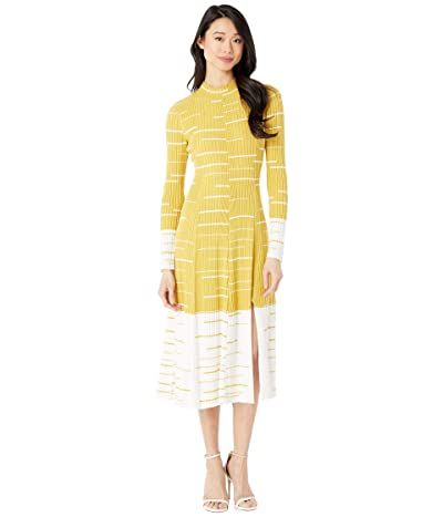 BCBGMAXAZRIA Midi Sweaterdress (Ceylon Yellow Combo) Women