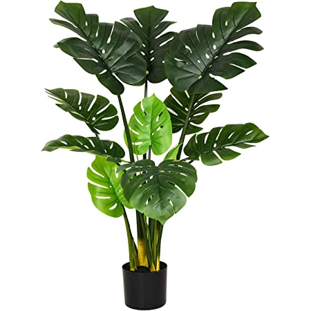 Artificial Monstera Deliciosa Plant 43 Fake Tropical Palm Tree Artificial Plant For Home Garden Office Store Decoration 1pack Kitchen Dining