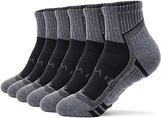 TSLA 6 Pairs Men and Women Athletic Short Crew Socks, Cotton Blend Cushion Quarter Socks, Sport Running Socks
