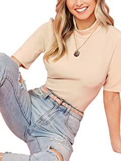 SheIn Women' Casual Solid Tee Mock Neck Short Sleeve Boxy Crop Top T-Shirt