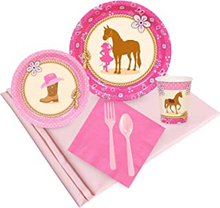 BirthdayExpress Western Cowgirl Pink Childrens Party Supplies Pack - 24 Guests