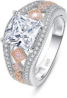 PAKULA 925 Sterling Silver Women Princess Cut Cubic Zirconia Wedding Band CZ Ring