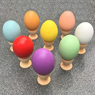Colorful Ultra Realistic DIY Simulation Wooden Egg Solid Wood Hand Painted Doodle Ege House Toy Play