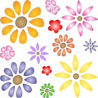 """FLOWER POWER STENCIL (size 5""""w x 5""""h) Reusable Stencils for Painting - Best Quality Scrapbooking Valentines Idea - Use on Walls, Floors, Fabrics, Glass, Wood, Cards, and More…"""