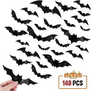 148 Pieces Multiple Sizes Halloween Bats Sticker Black 3D Bats Wall Decals Halloween PVC 3D Bat Decorations Halloween Party Supplies Home Window Bathroom Indoor Decors DIY