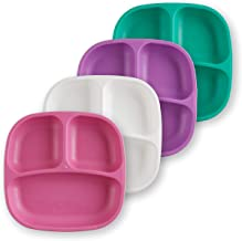 product image for Re-Play Made in USA 4pk Divided Plates in Aqua, Purple, White and Bright Pink | Made from Eco Friendly Heavyweight Recycled Milk Jugs and Polypropylene - Virtually Indestructible (Sparkle+)