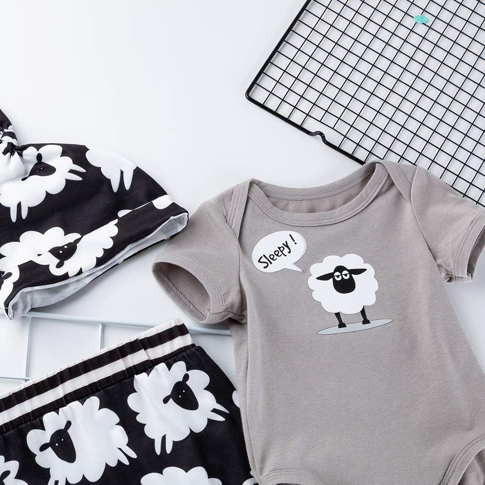 3pcs Newborn Baby Boy Outfit Set Infant Sleepy Sheep Clothes Short Sleeve Romper +Long Pants +Hat 0-24 Months Grey