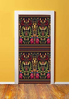 Eastern 3D Door Sticker Wall Decals Mural Wallpaper,Traditional Pattern Colorful Paisley Border Floral Details Elephants Tribal Artwork Decorative,DIY Art Home Decor Poster Decoration 30.3x78.4828,Mul