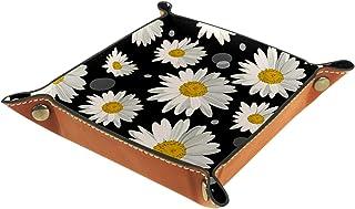 Vockgeng Fleurs Blanches Boîte de Rangement Panier Organisateur de Bureau Plateau décoratif approprié pour Bureau à Domici...