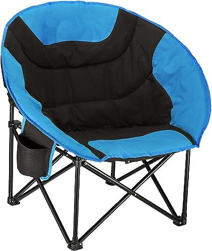 C-Xka Cadre en acier rembourré Camping en plein air chaise de loisirs Chaise de pêche d'été avec porte-gobelet, pliable et portable avec sac de transport, Camping, pique-nique, pêche, tour Self-driving