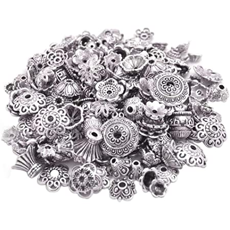 YoudiylaUK 1100PCS Mixed Size Flower Bead Caps Tibetan Style Flower Bead End Caps Spacers for Jewelry Making WM265