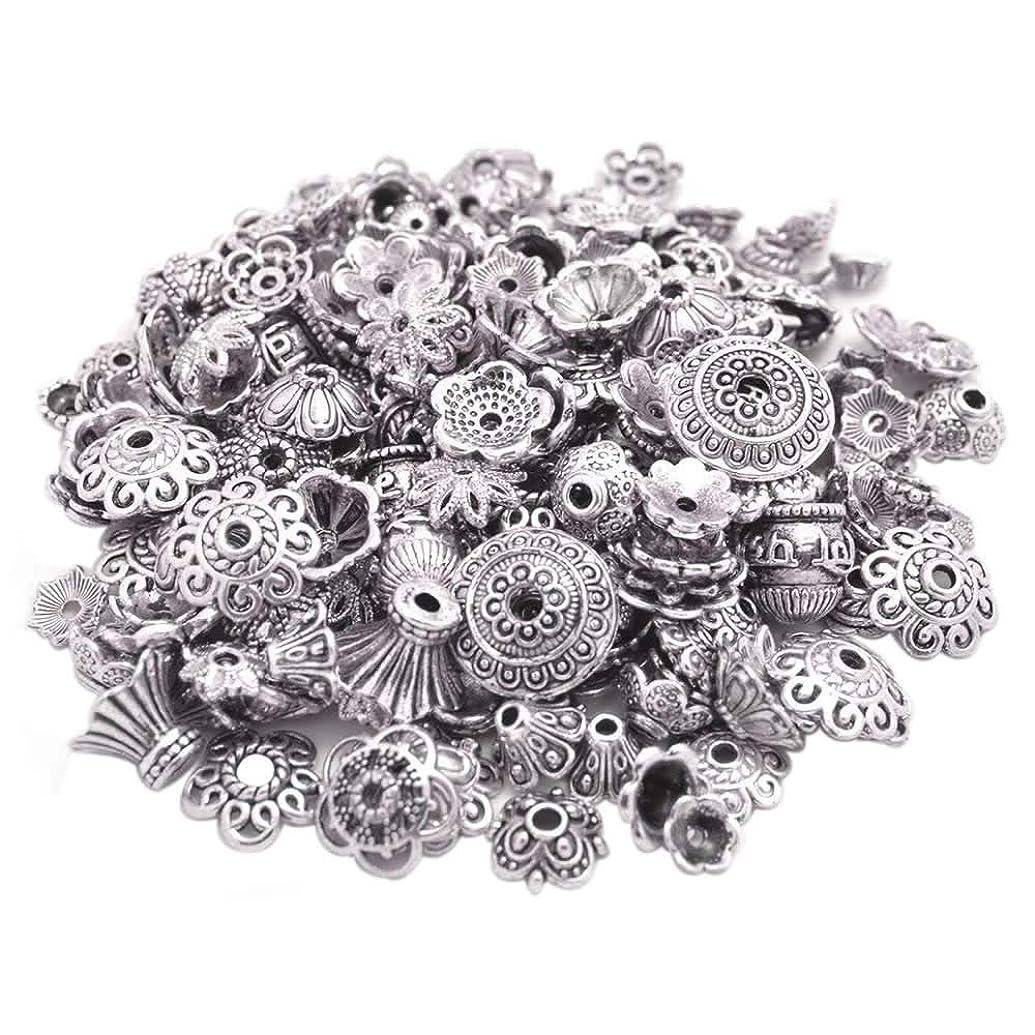 160-210pcs Bali Style Jewelry Making Metal Bead Caps Deluxe New Mix, 100 Gram,Tibetan Silver