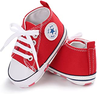 DishyKooker Baby Shoes Soft Sole Fashion Canvas Infant Toddler Sports Leisure Shoes red 11CM