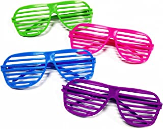 [Novelty Place] Neon Color Shutter Glasses 80's Party Slotted Sunglasses for Kids & Adults - 12 Pairs (4 Colors)