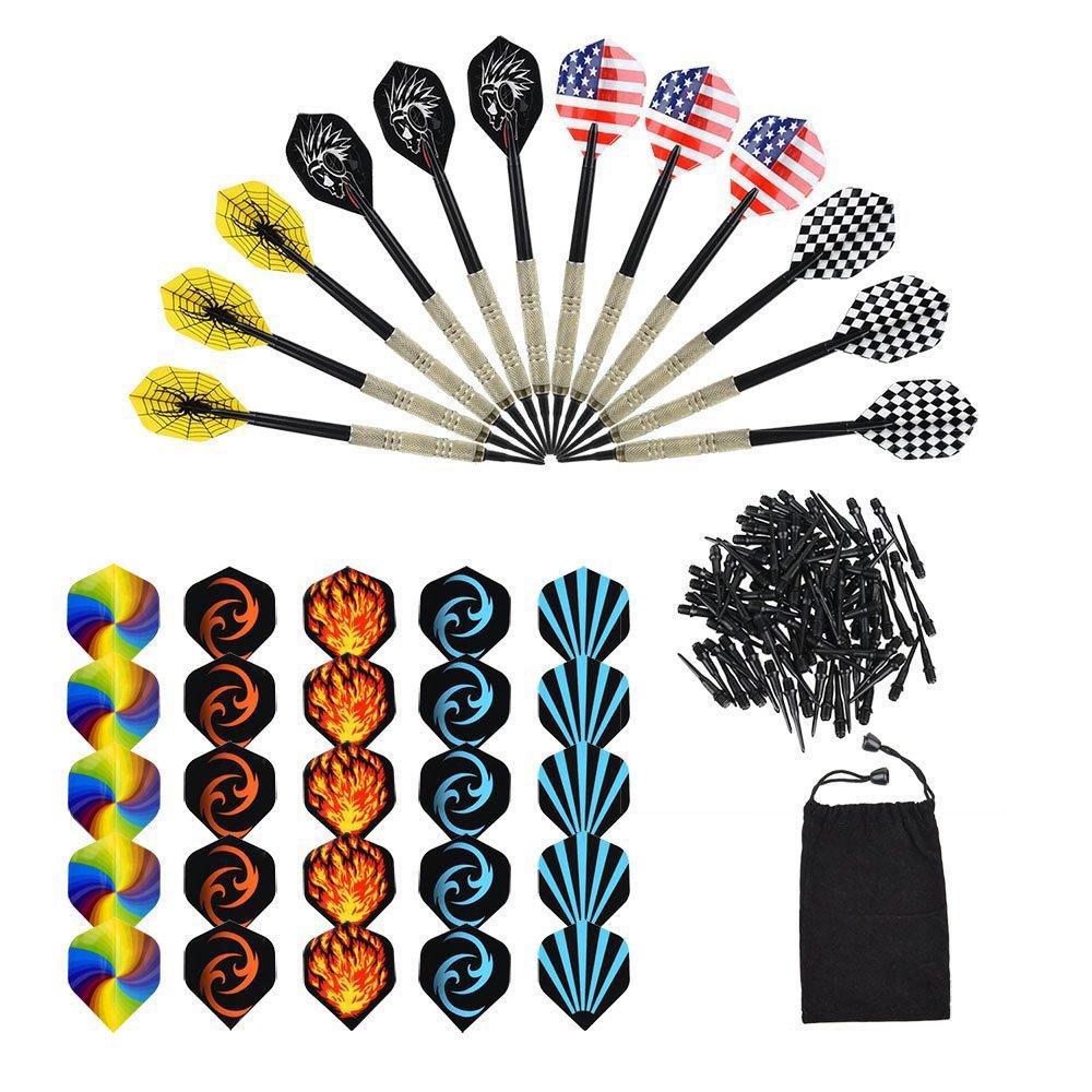 OIZEN Dardos, 12 Pack de 12 Dardos + 100 Puntas + 30 Plumas, Dardos Profesionales Punta Plastico para Diana Electrónica: Amazon.es: Deportes y aire libre