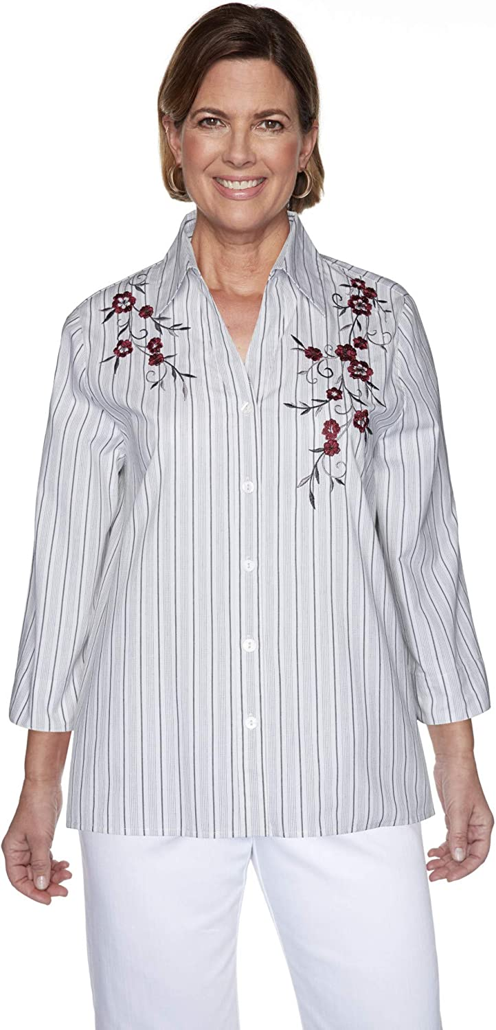 Award Alfred Dunner Free shipping anywhere in the nation Women's Madison Stripe Shirt Ave Embroidered