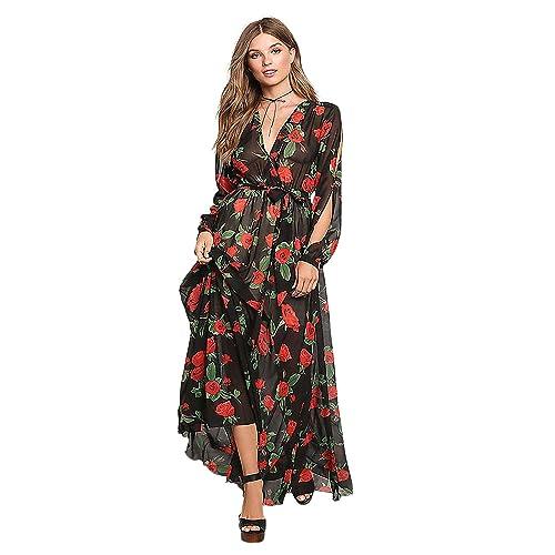 a773560bff Clothink Women's V Neck Floral Print Tie Waist Slit Sleeve Chiffon Maxi  Dress