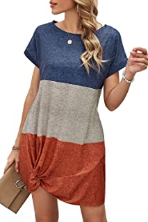 ReachMe Womens Color Block Twist Knot Tshirt Dresses Casual Short Sleeve Tunic Dress Summer Dress with Pockets