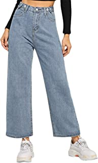 Women's Casual High Waisted Button Jeans Wide Leg Denim Pants