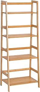 homcom Libreria a 4 Livelli Moderna Scaffale a 4 Ripiani Bagno Cucina Balcone bambù 48 × 30 × 119cm