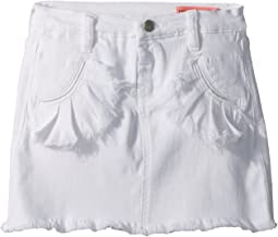 White Denim Skirt with Ruffle Pocket Detail in Island Time (Big Kids)