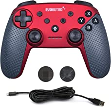 Switch Pro Controller Wireless Bluetooth Accessories - Compatible with Nintendo Switch Console (Red)   PC Gamepad Joypad Remote with Gyro Axis (Turbo Buttons) by EVORETRO