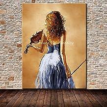 لوحة زيتية من SANSNMI صور بدون إطار لعب الكمان مرسومة باليد لوحات زيتية لتزيين المنزل لغرفة المعيشة، 28 × 36 بوصة
