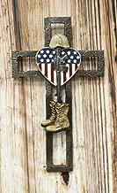 Ebros Gift Rustic Western USA Flag Military Patriotic Fallen Soldier Memorial Wall Cross Decor Plaque Vintage Design Hanging Sculpture 11.75