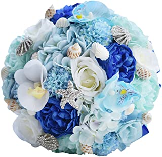 Abbie Home Bridal Bouquet Blue Brooches for Beach Wedding Bride Rose Flowers with Sea Shells Starfish Decoration (Light Blue)