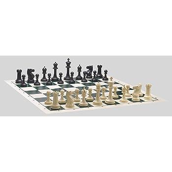 Musketeer Chess Pièces d'échecs en Plastique, homologuées, Hauteur du Roi 96mm, Sandal et Noir, Pièces en Plastique