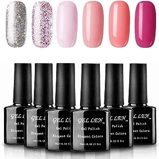 Gellen Gel Polish Set 6 Colors Pinks Glitters - Sakura Colors Series Nail Gel Manicure Kit