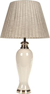 DOWNTON INTERIORS Large Ivory Crackled Effect Table Lamp with Pleated Shade - Vintage Style Living Rooms & Bedrooms